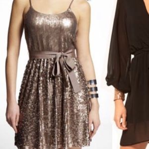 Express Bronze Sequin Dress Sz S